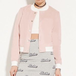 Faux Suede Pink Bomber Jacket